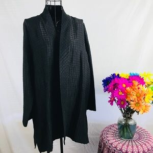 Eileen Fisher quilted crepe silk black blazer
